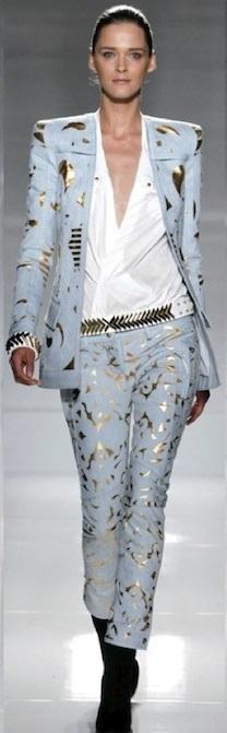 balmain-pfw-ss12-gold-coated-denim-suit-dress-workshirt
