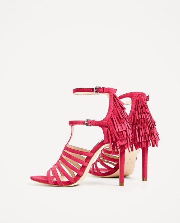 Zara leather heels sandals with fringes