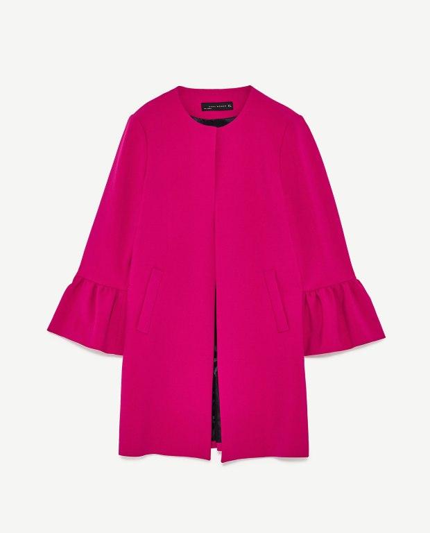 Zara frilled sleeves coat